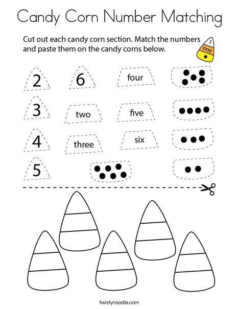 Candy Corn Number Matching Coloring Page - Twisty Noodle ...