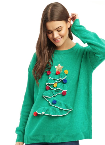 Brave Soul Damen 3D Frill Christmas Tree Pullover mit
