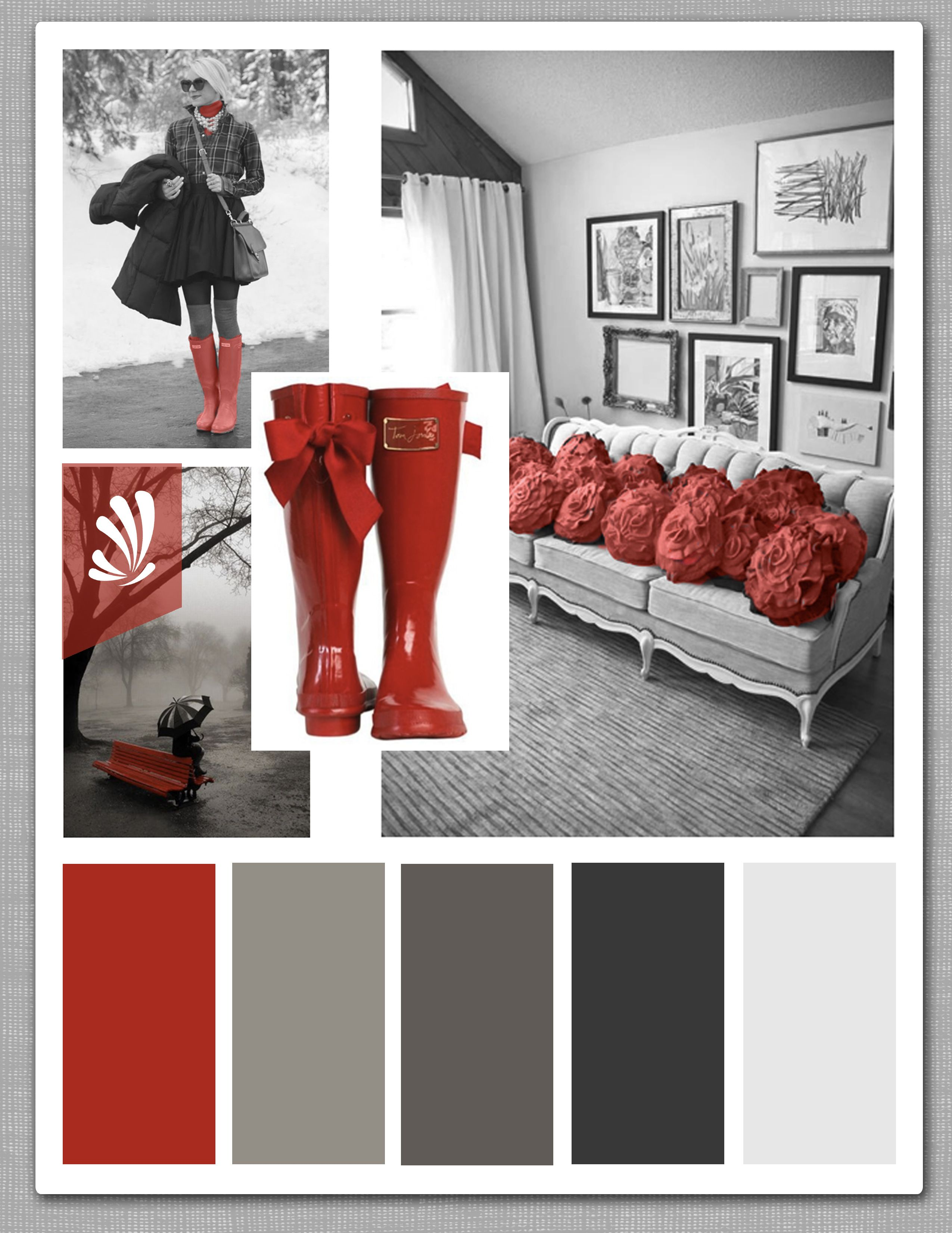 Cool grays and a pop of candy apple red. Spice up your living room!