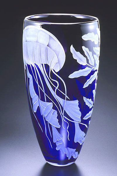 Jellyfish Vase Sand Carved Glass Glasscrystal Pinterest