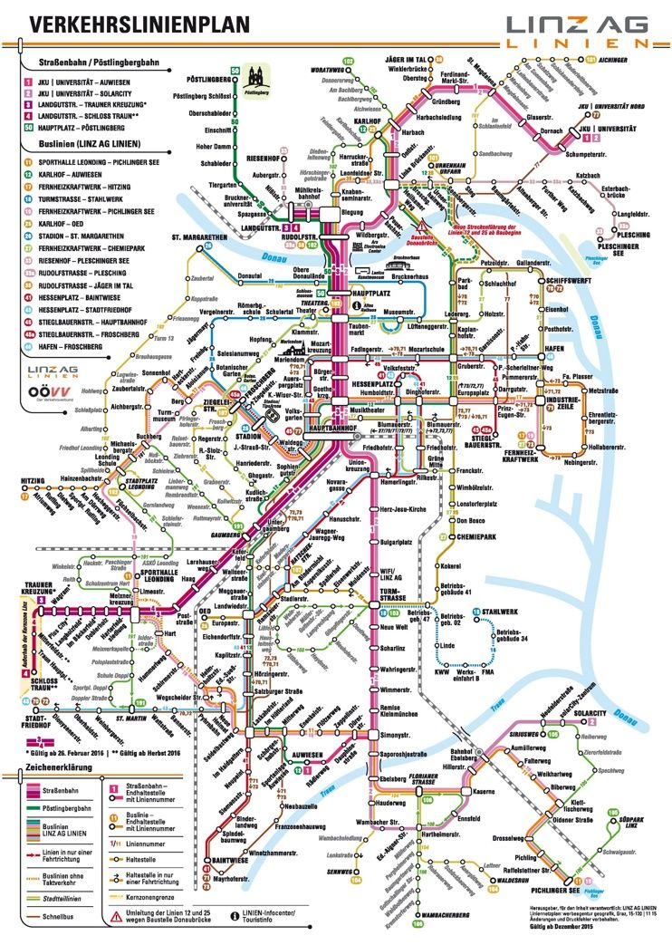Linz public transport map Maps Pinterest Public transport
