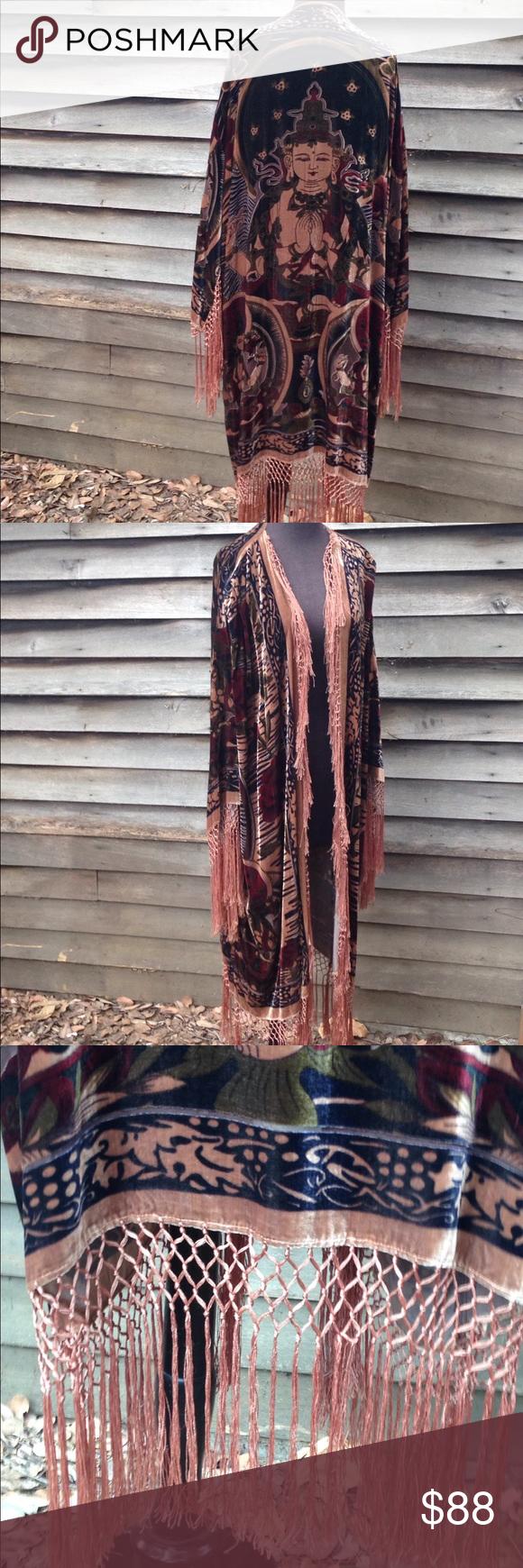 9539c9e99 Silk Buddha Kimono Beautiful Buddha and red rose design velvet kimono with  silk fringe. Vintage