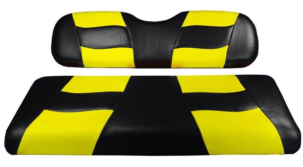 BLACK/YELLOW RIPTIDE TWO-TONE REAR SEAT CUSHION SET G150