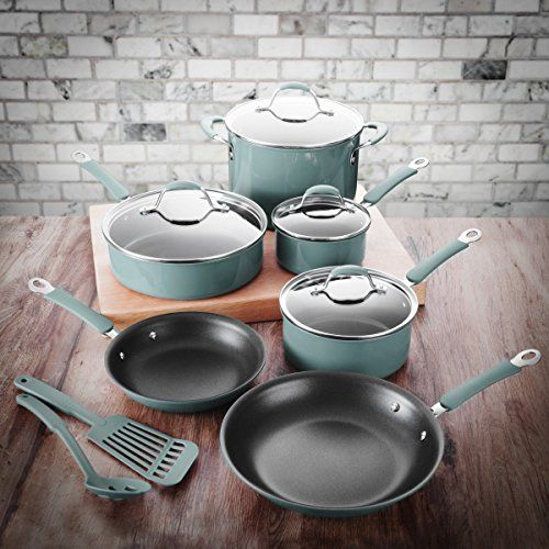 FortheChef 12 Piece Blue Hard Anodized Aluminum Cookware Set With Xylan  Interior