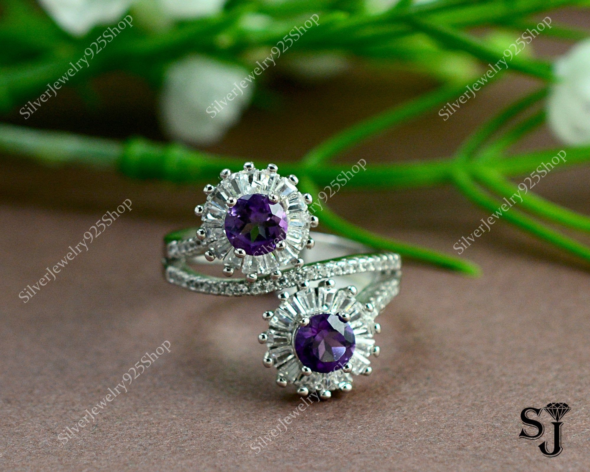 Natural Amethyst Ring February Birthstone 925 Sterling Silver Personalized Handmade Silver Jewelry Gift For Him Statement Ring