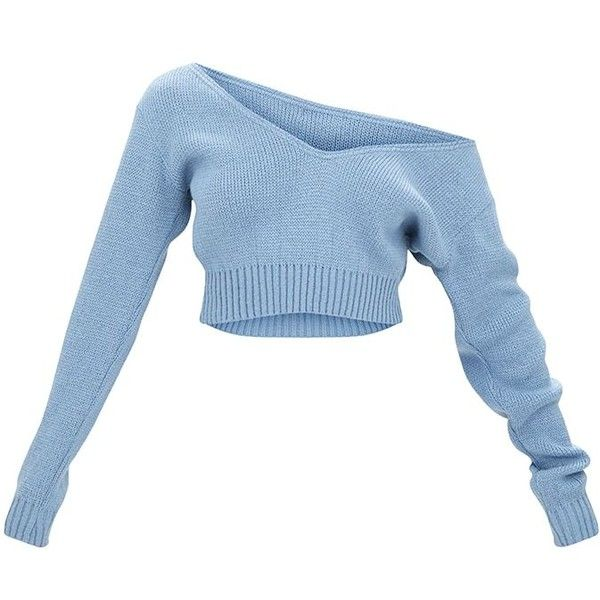62d69d3bb6f8a Adelaida Dusty Blue Off Shoulder Knitted Crop Jumper ( 18) ❤ liked on Polyvore  featuring tops