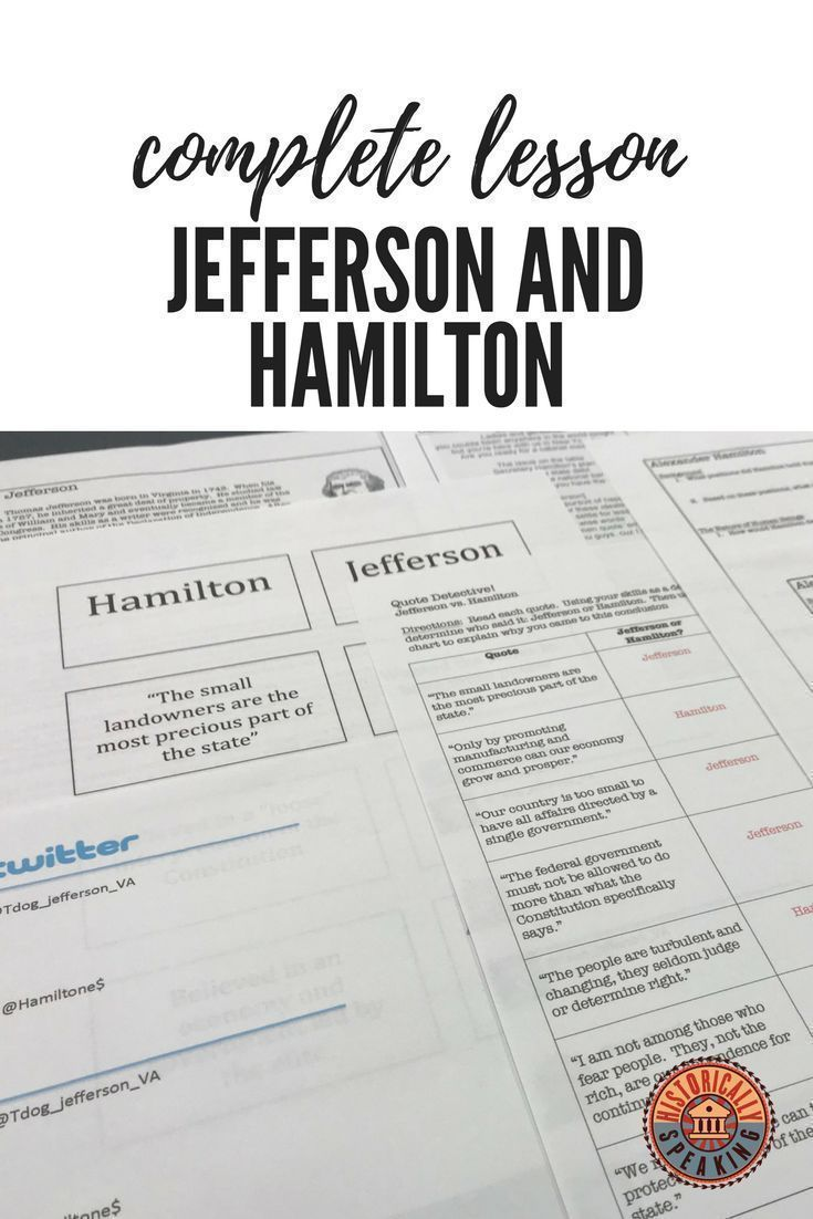 A Complete Lesson Highlighting The Differences Of Thomas Jefferson And Alexander Ham American History Classroom Social Studies Worksheets Middle School History