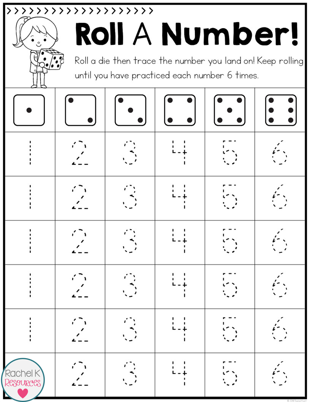 Roll A Number Handwriting Practice Writing numbers