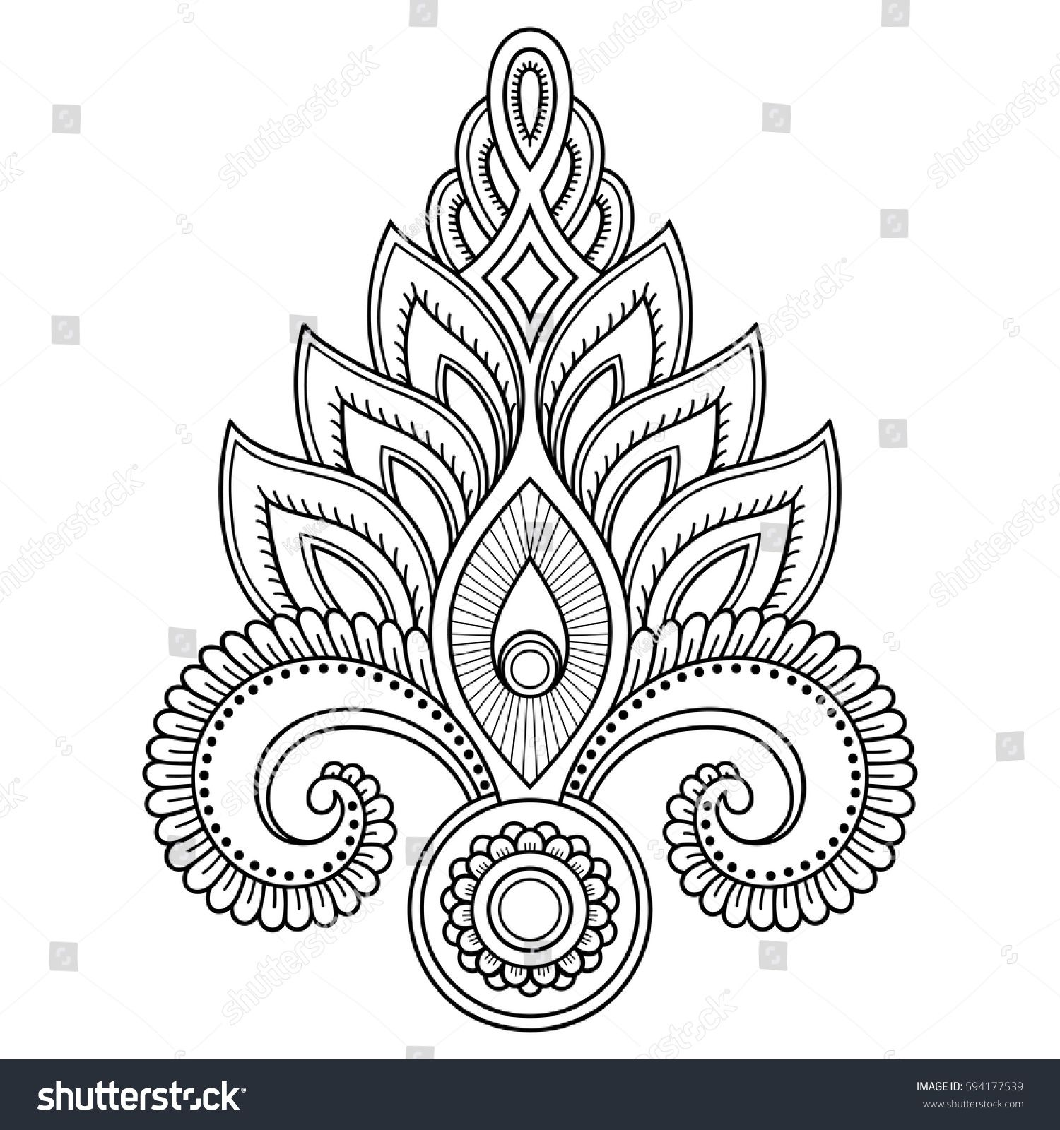 Mehndi flower pattern for Henna drawing and tattoo. Decoration in ...