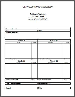Homeschool Student High School Transcript Template ||| Free to print ...