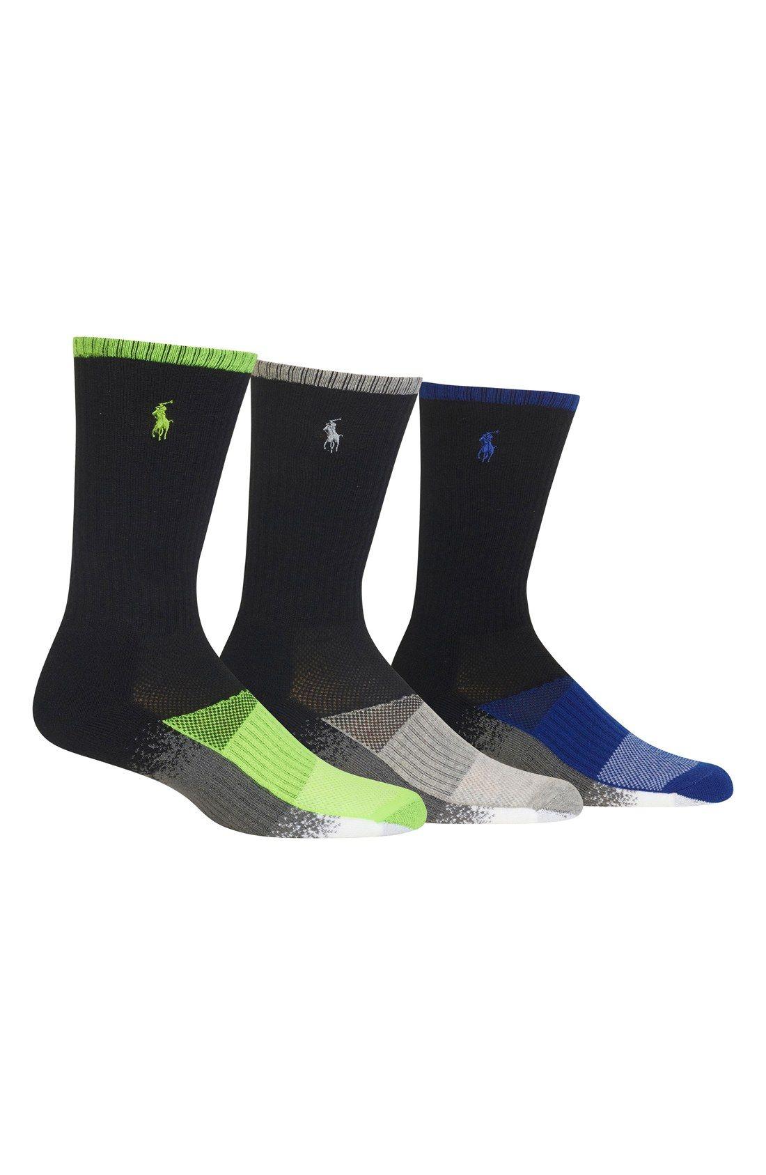 Polo Ralph Lauren Colorblock Gradient Crew Socks (3-Pack) (Men)