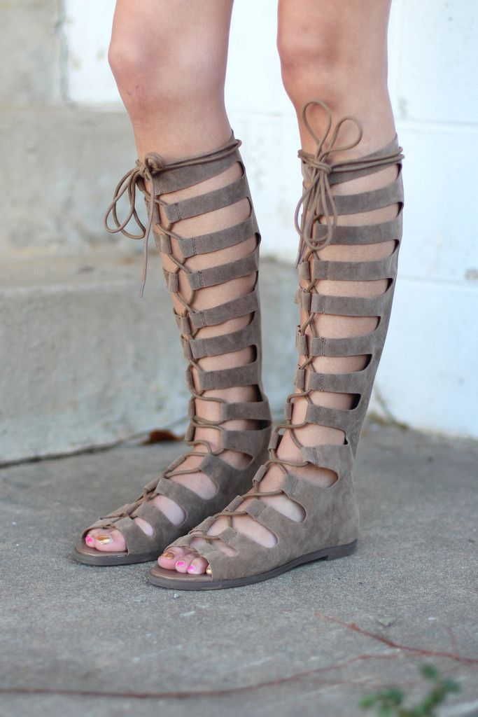 Rita Tall Lace Up Gladiator Sandals  Beige   cac4cb8fed3