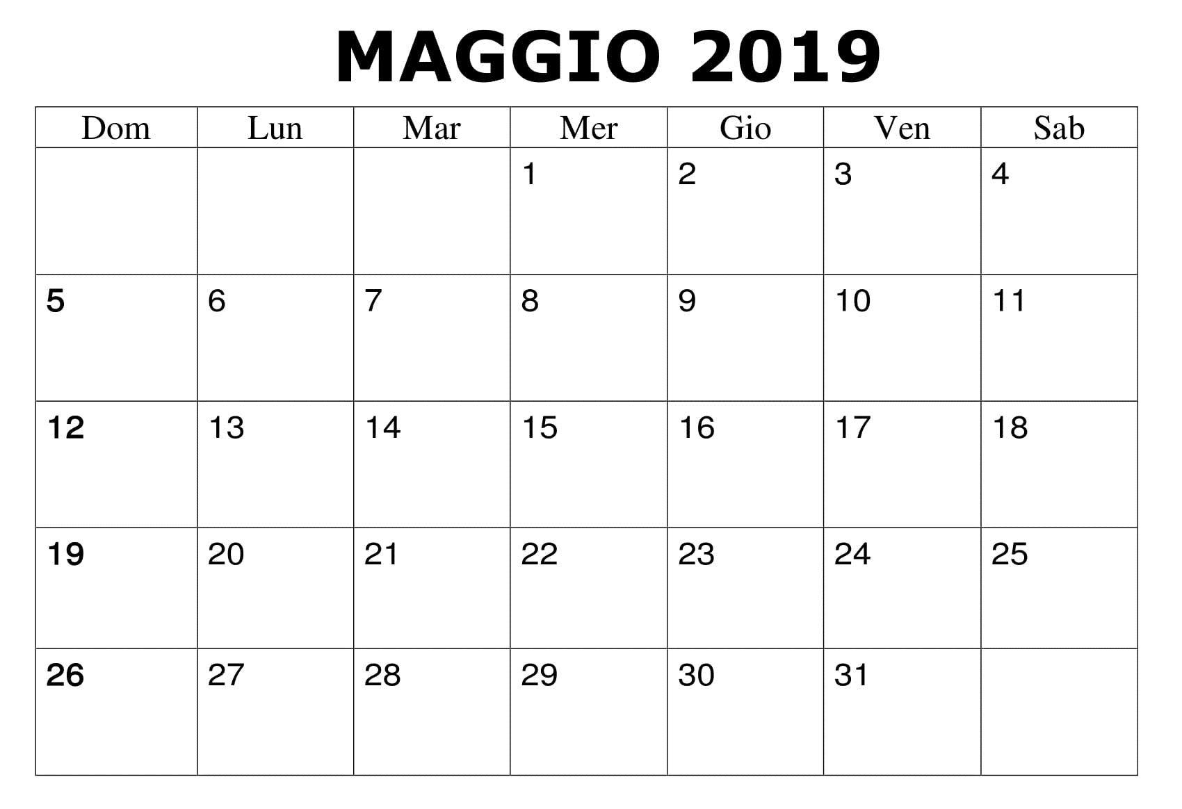 Calendario Maggio 2020 Da Stampare.Maggio 2019 Da Stampare Professionale Calendario