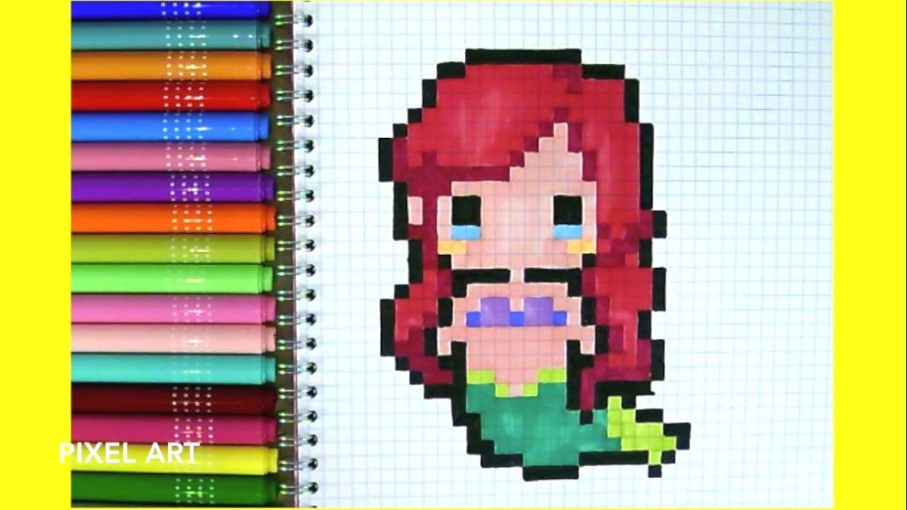 Pixel art comment dessiner ariel la petit sirene le - Comment dessiner une princesse disney ...