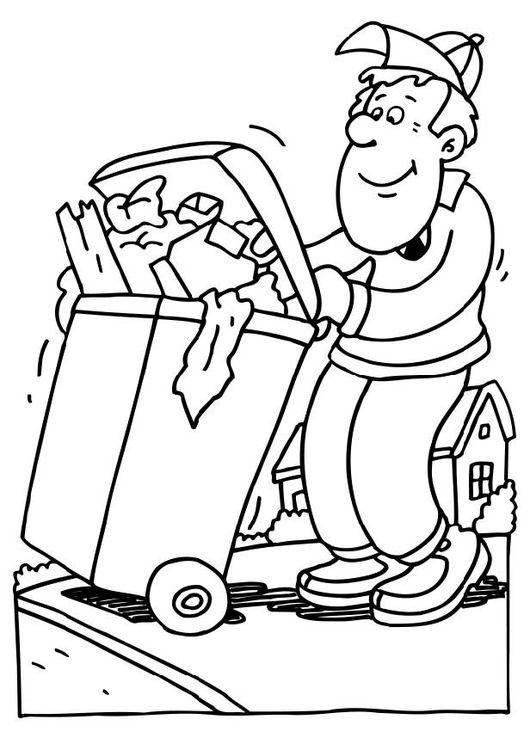 Coloring Page Garbage Collector Img 6567 Coloring Pages Community Helpers Theme Cute Coloring Pages