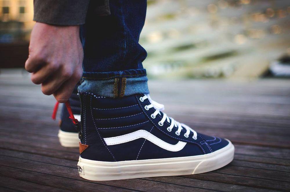 Vans SK8 Hi Zip CA Varsity Stripe Eclipse Men's Skate Shoes ...