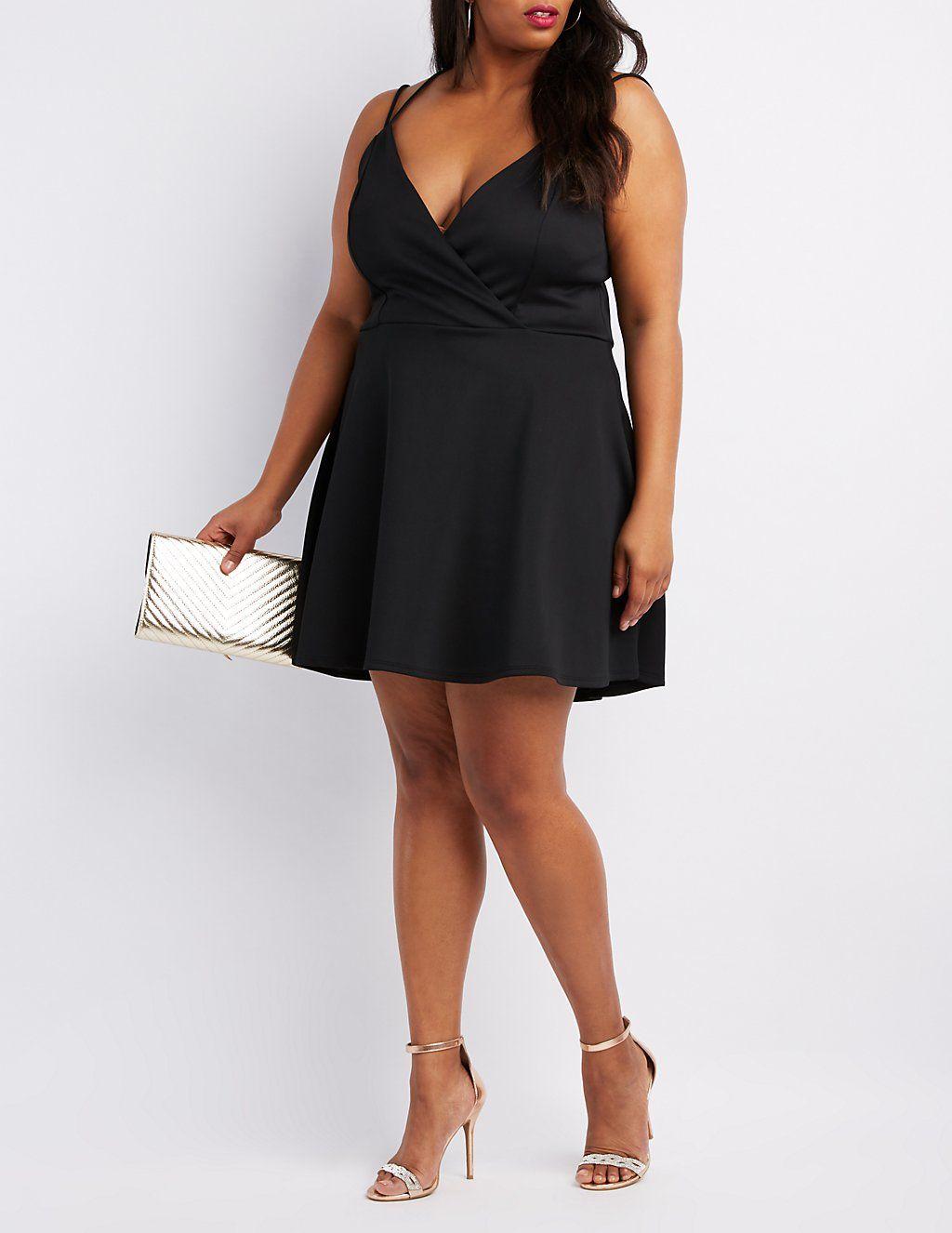 81e75062d2a Plus Size Strappy Back Surplice Skater Dress