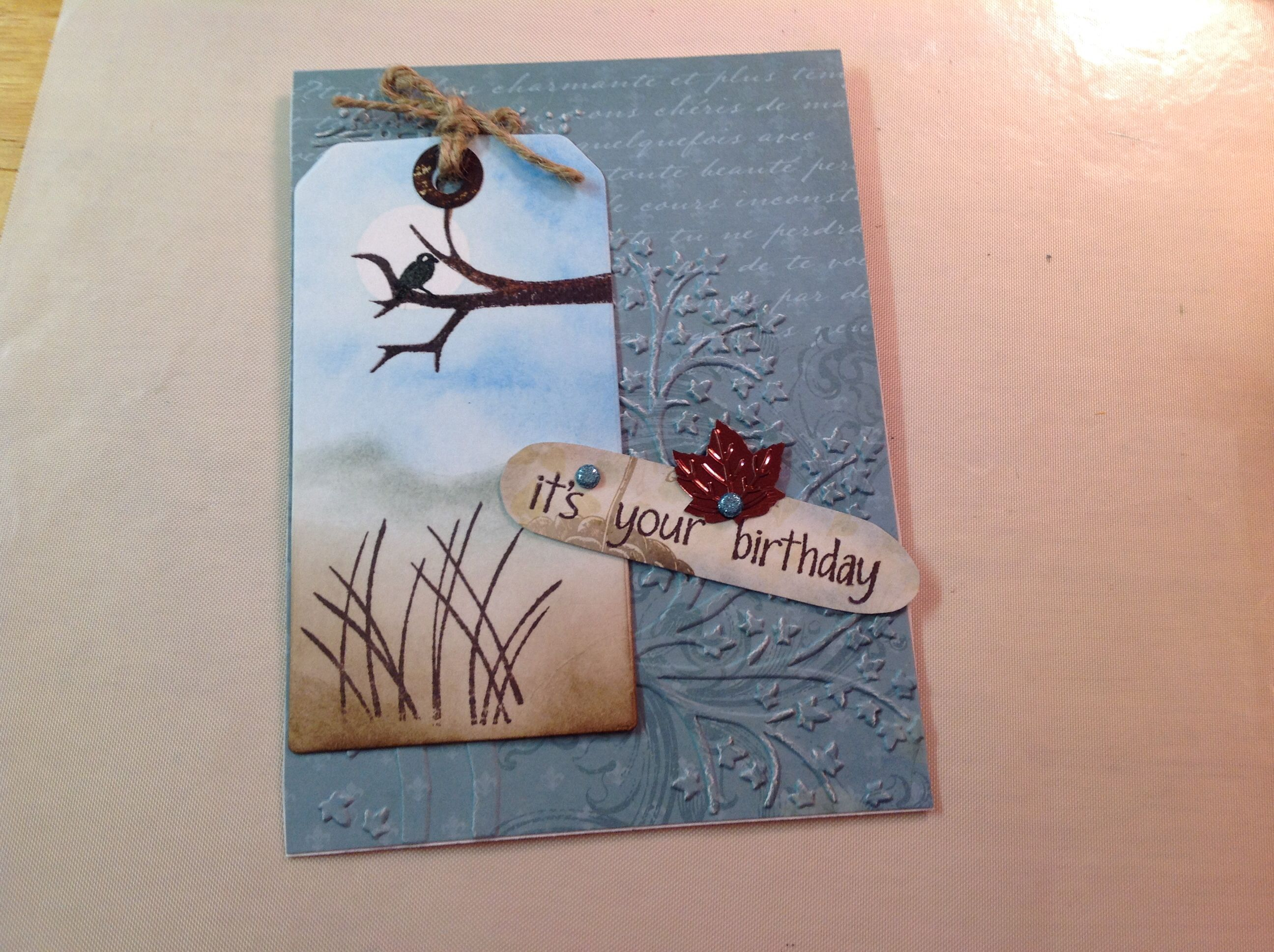 Halloween birthday card Embossed background cut tag stamps