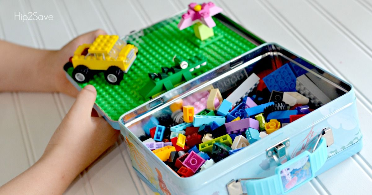 Use a tin lunch box and Lego