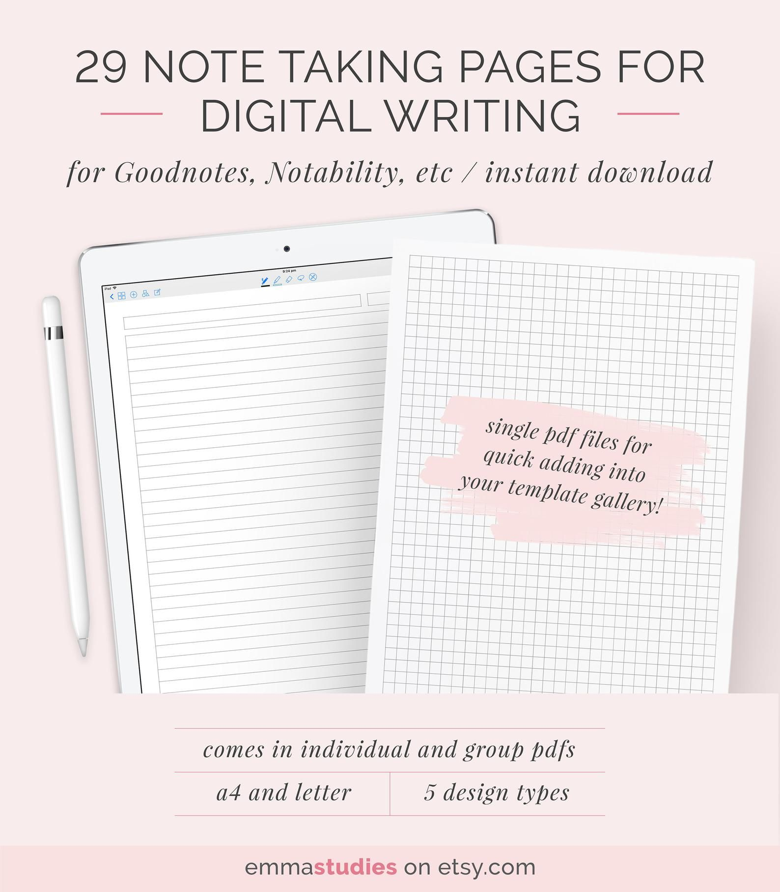 Digital Note Taking Paper Template Goodnotes Notability Ipad Tablet Lined Ruled Grid Dotted Cornell College Notebook Pages A4 Letter Paper Template Notability Ipad Note Taking