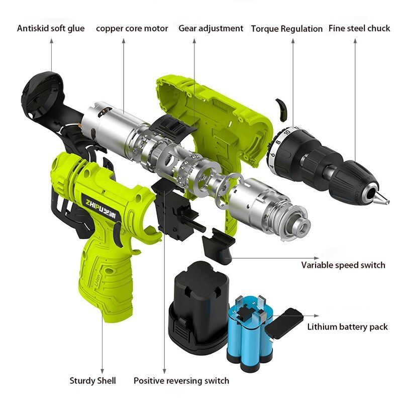 Fghgf 12v Single Speed Cordless Drill Multi Function 1 Batteries Cordless Hand Drill Fghgf Single Speed C Cordless Drill Electric Drill Multifunction Tool