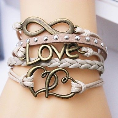 eruner®leather armbånd flerlags legering kjærlighet og hjerte uendelig håndlaget armbånd – NOK kr. 13