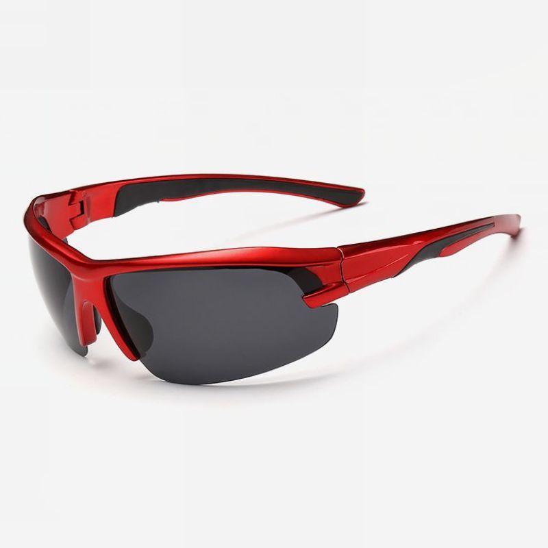 Polarized Semi-Rimless Cycling Sunglasses Red Wrap Frame Grey Lens ...