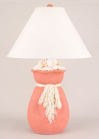 Burlap Sack Of Shells In Coral Table Lamp