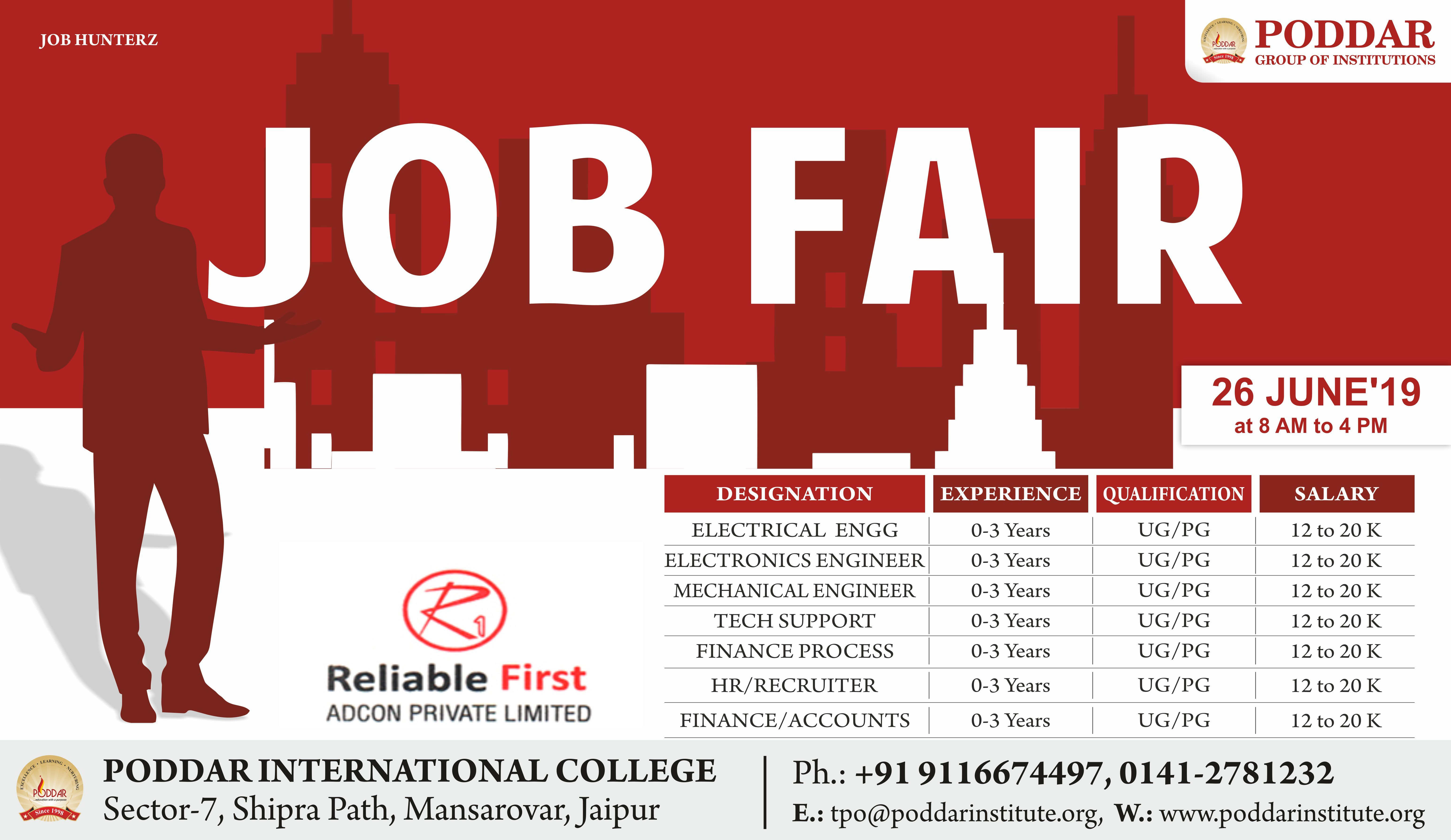 Vacancy in Reliable First at Job Fair 2019 Poddar Group