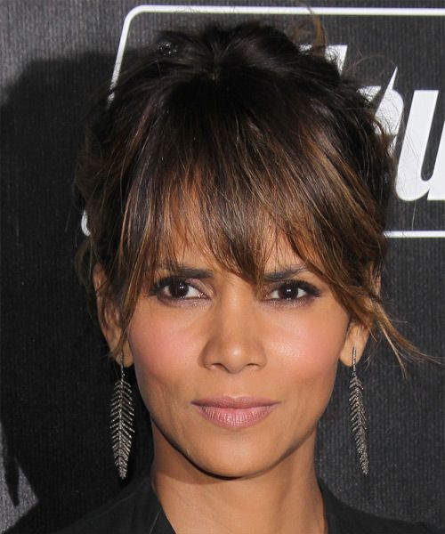 Halle Berry Long Straight Casual Updo Hairstyle With Layered Bangs