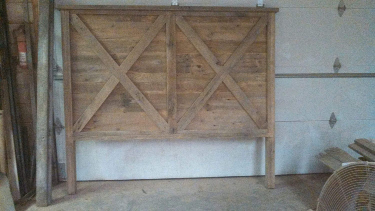Husbands next project lol :)  Made to Order Rustic and Recliamed Barn Wood King Headboard by timelessjourney on Etsy