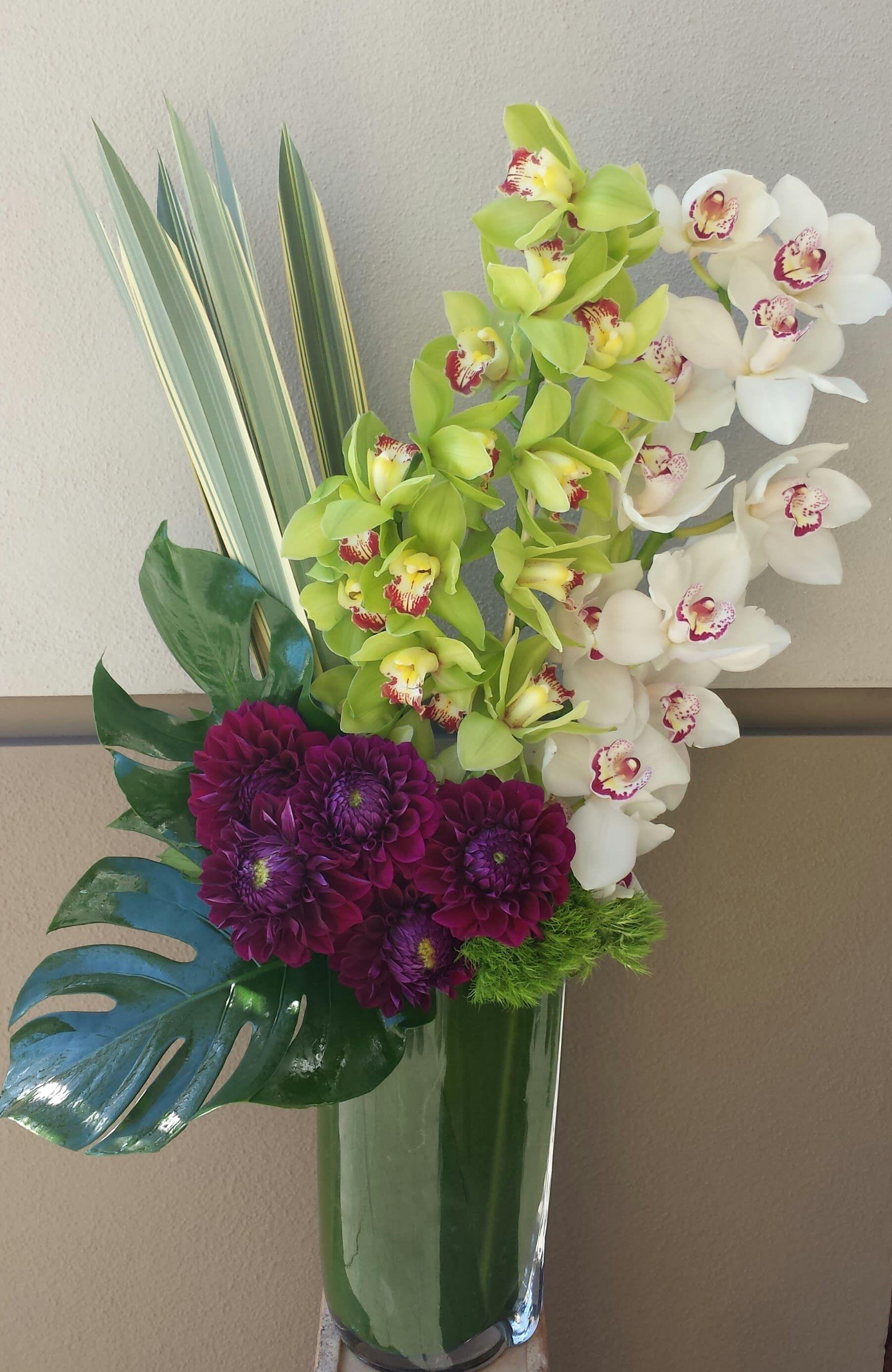 Dahlias And Orchids By Apropos Floral Event Design Orchid Flower Arrangements Tropical Flower Arrangements Flower Arrangements Simple