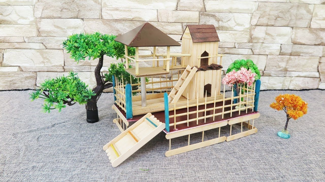Popsicle Stick House Ice Cream Stick Crafts Dream House