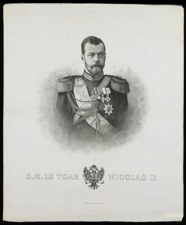 Jean-Baptiste Arnaud (imprimeur), Portrait du tsar Nicolas II, Lyon, Paris, XXe siècle. MT 43047. Achat Descharrières, 1987. © Musée des Tissus, Pierre Verrier