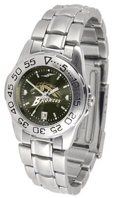 Western Michigan University Ladies Stainless Steel Dress Watch by SunTime. $63.95. Officially Licensed Western Michigan Broncos Ladies Stainless Steel Dress Watch. Stainless Steel-Scratch Resistant Crystal. Women. AnoChrome Dial Enhances Team Logo And Overall Look. Links Make Watch Adjustable. Western Michigan Broncos ladies stainless steel dress watch. This Broncos women's watch comes with a stainless steel link bracelet, date calendar, plus a rotating bezel/timer circles the s...