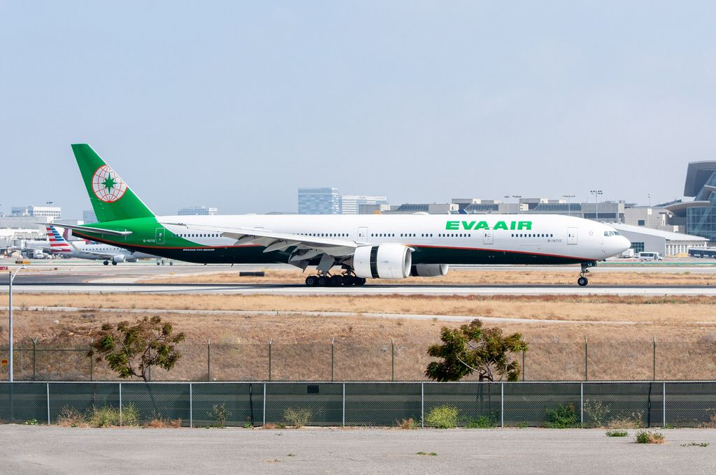 EVA Air 77735E/ER landing at LAX on June 20, 2018. Eva