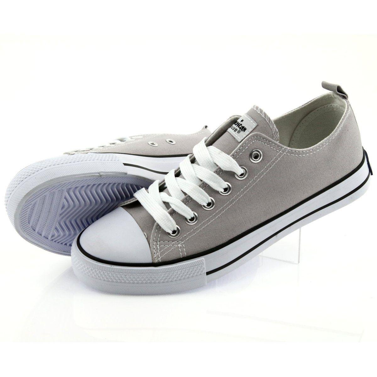 Trampki Wiazane Szare Buty Damskie American Club Sneakers Shoes Womens Sneakers