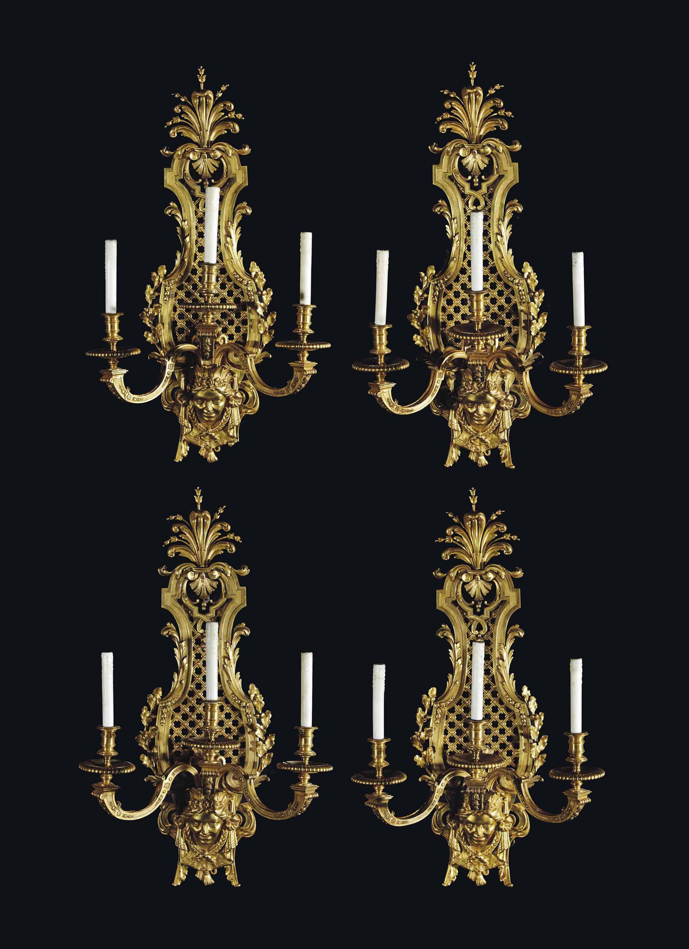 Date Unspecified A Set Of Four French Ormolu Three Light Wall Lights Late 19th Century Price Realised Gbp 35 000 Lights Wall Lights Light