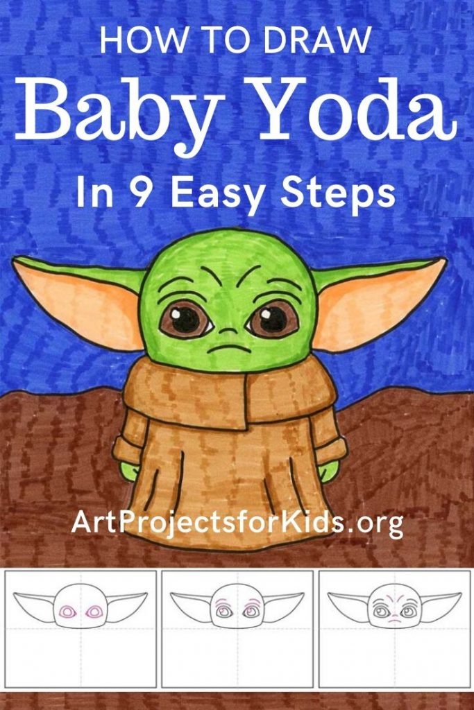 How to Draw Baby Yoda - Drawing for kids, Yoda art, Kids art projects, Easy art projects, Baby drawing, Art drawings for kids - A new pop culture project, how to draw Baby Yoda from the Mandalorian movie  Follow my nine easy steps to draw this very popular character