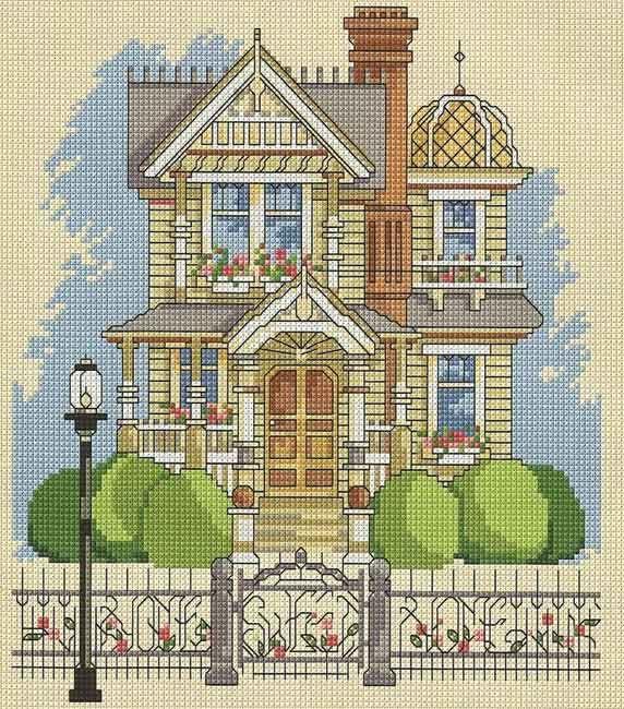 Схема вышивки крестом 'Английский дом'