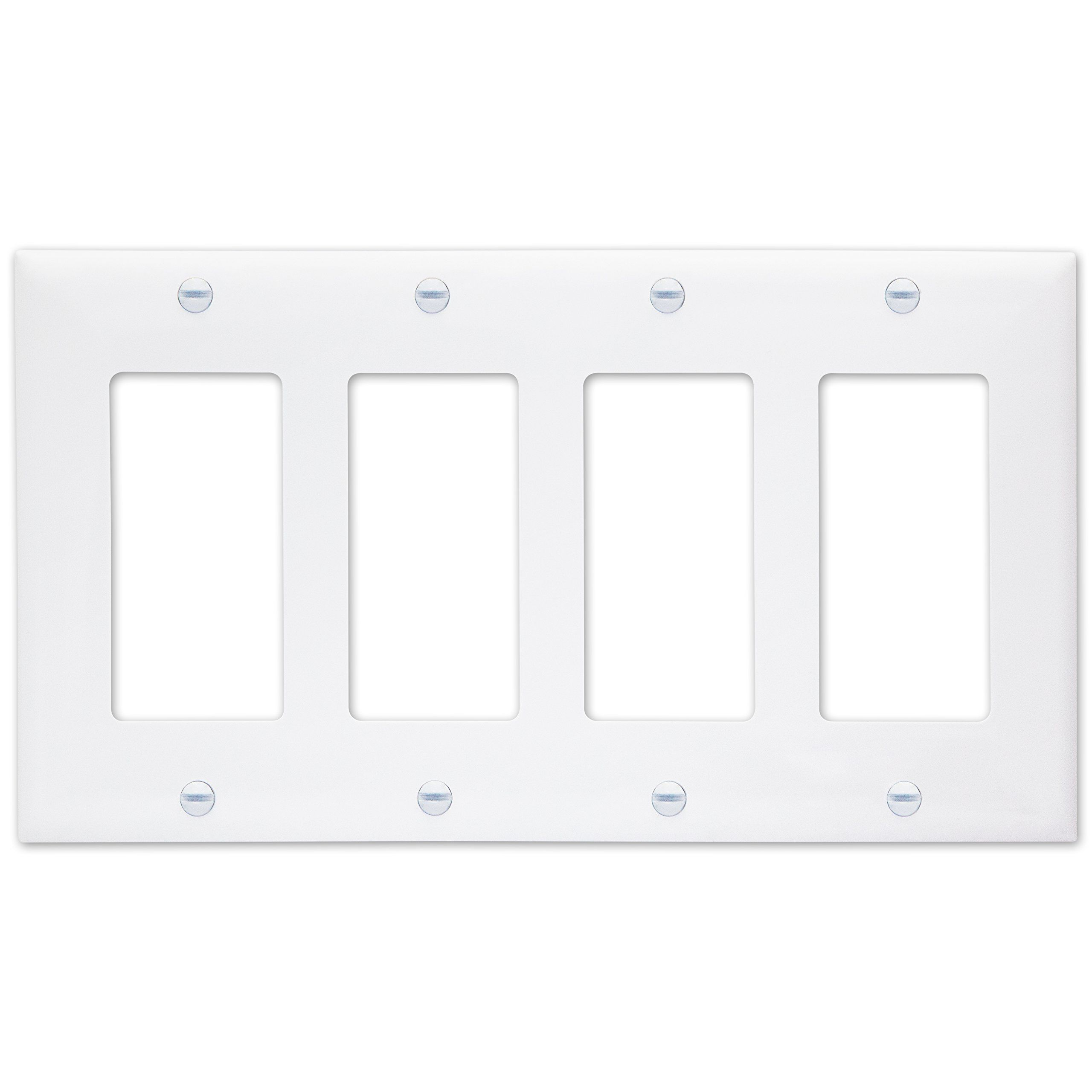 Enerlites Decorator Light Switch Or Receptacle Outlet Wall Plate Size 4 Gang 4 50 X 8 19 Polycarbonate Thermo Plates On Wall Light Switch Light Accessories