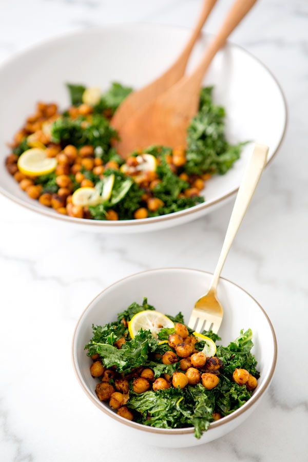 TOASTED KALE AND PAN FRIED CHICKPEASALAD -via a house in the hills