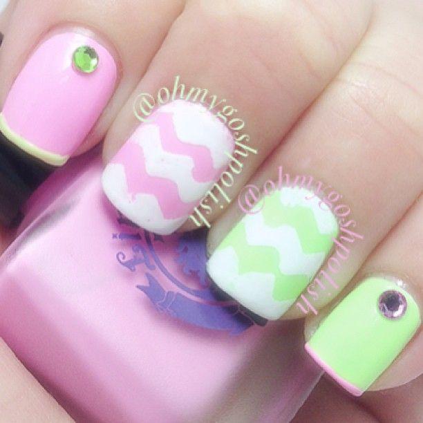 Kbshimmer Spring 2014 Chevron Dot Nail Art Easter Design: Cute Spring/summer Nails