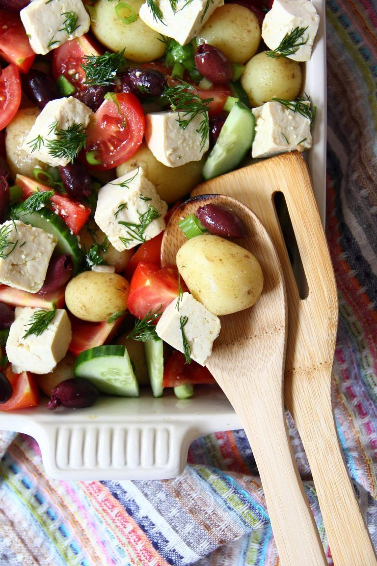 Greek Potato Salad With Tofu Feta Vegan