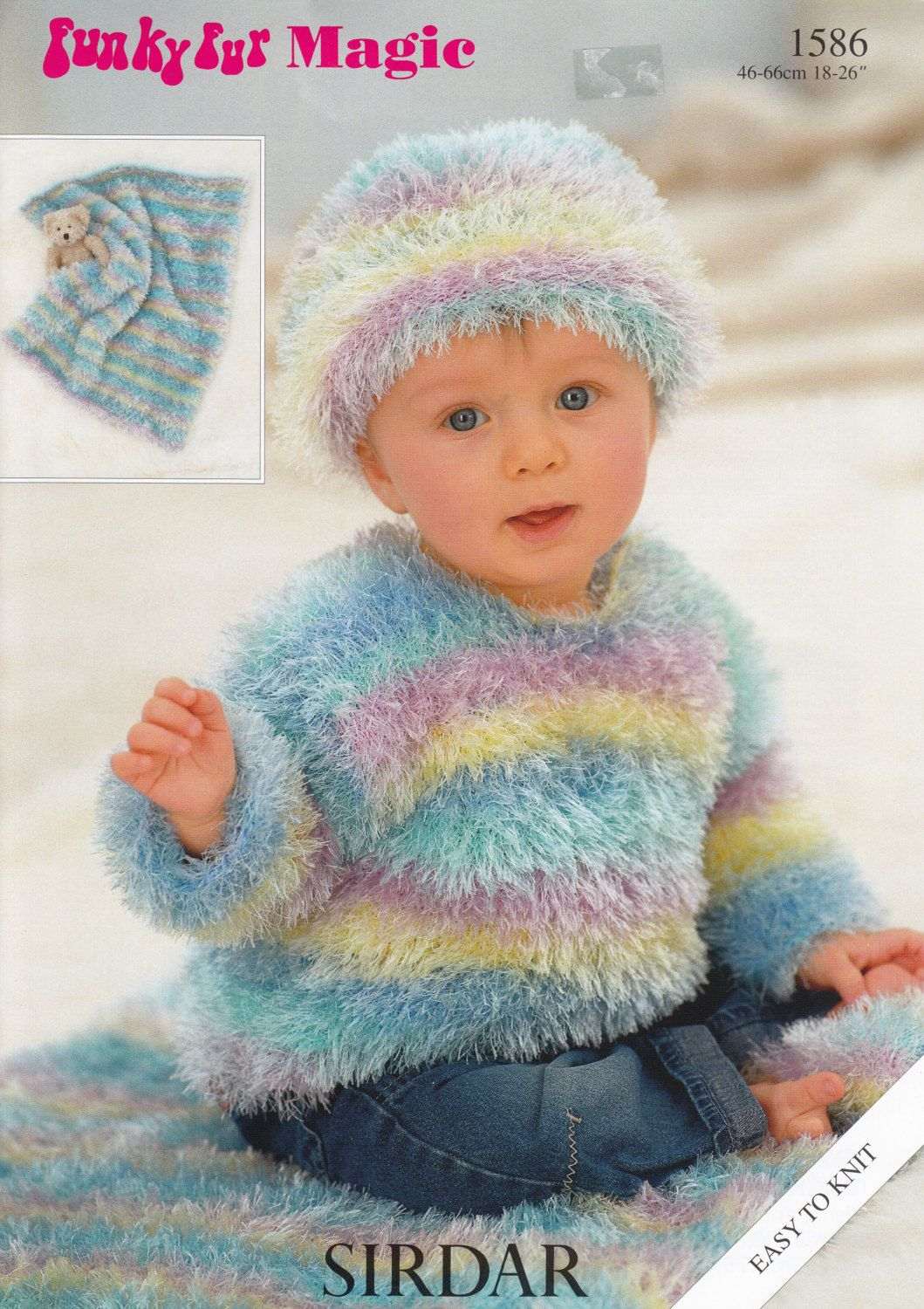 Baby sweater hat blanket knitting pattern sirdar funky fur baby sweater hat blanket knitting pattern sirdar funky fur magic knitted baby hat bankloansurffo Image collections