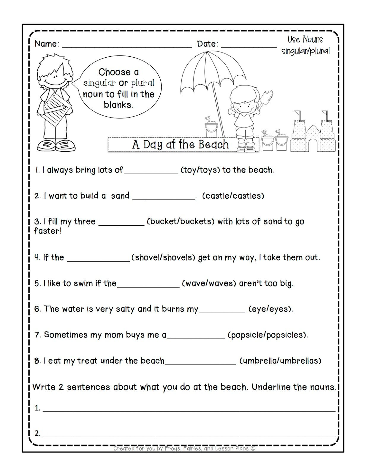 medium resolution of Singular And Plural Nouns Sentences Worksheets