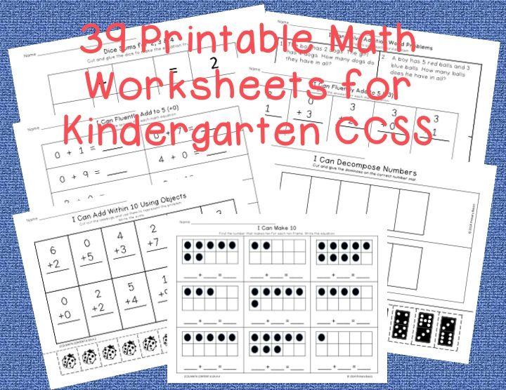 Kindergarten Common Core Math Worksheets Cool Math Stuff