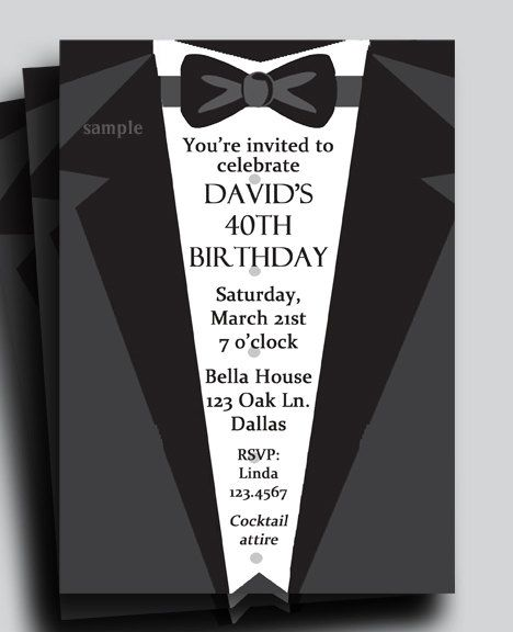 Suit and Tie Tuxedo Invitation Printable or Printed with FREE – Free Customizable Party Invitations