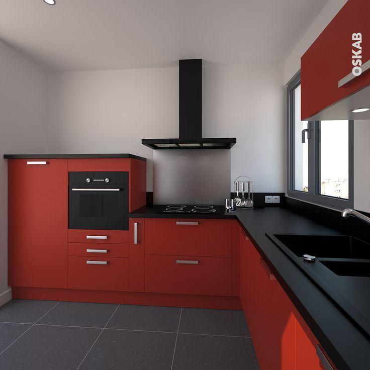 Beau Nice Idée Relooking Cuisine   Cuisine Moderne Rouge Ouverte, Implantation  En L Avec Plan De Travail Noir Brill.