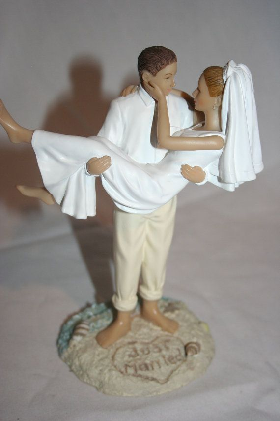 Resin Caucasian Just Married Beach Wedding Cake Toppers Pinterest